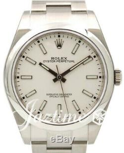 Rolex Oyster Perpetual 39 White Dial Smooth Steel Oyster 114300 Mens BRAND NEW