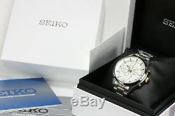 Seiko Sports Men's Chronograph Brand New Boxed Silver/white Dial Rrp £199.00