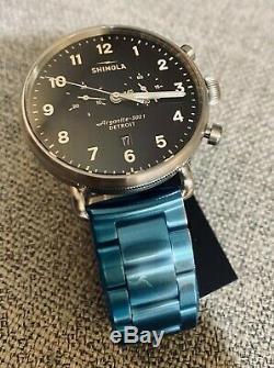 Shinola Canfield Chrono 43MM Argonite 5021 Brand New Stainless Steel Mens Watch