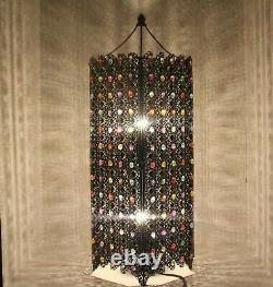 Stunning Large Table Lamp Moroccan Style Jeweled Cutwork Flower Brand New
