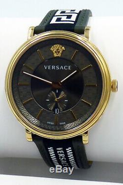 Versace Men's Watch VEBQ01519 V Circle Leather Swiss Made Brand Watch New