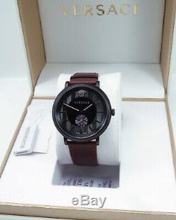 Versace Men's Watch Vebq00419 V Circle Leather Brown Brand Watch New
