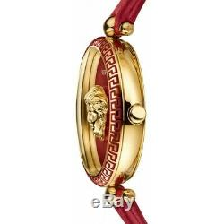 Versace Womens VCO120017 Palazzo Empire Red Leather Gold Swiss Made Brand Watch